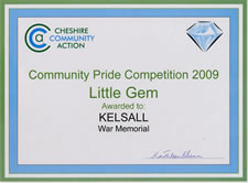 Little Gem 2009 - awarded to Kelsall for War Memorial
