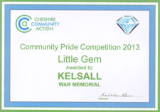 Little Gem 2013 - awarded to Kelsall for War Memorial